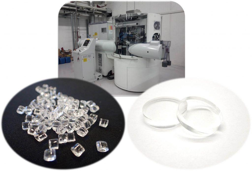 PMMA plastic granulates, CCM 24 machine at polyoptics, planar PMMA lenses molded by CCM